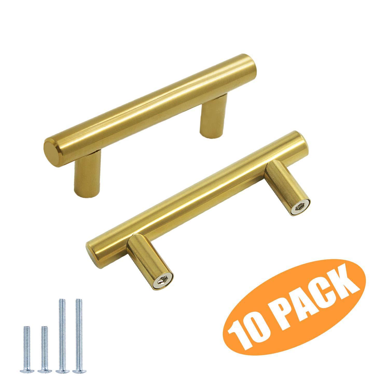 Probrico Brushed Brass Modern Cabinet Hardware Kitchen ...