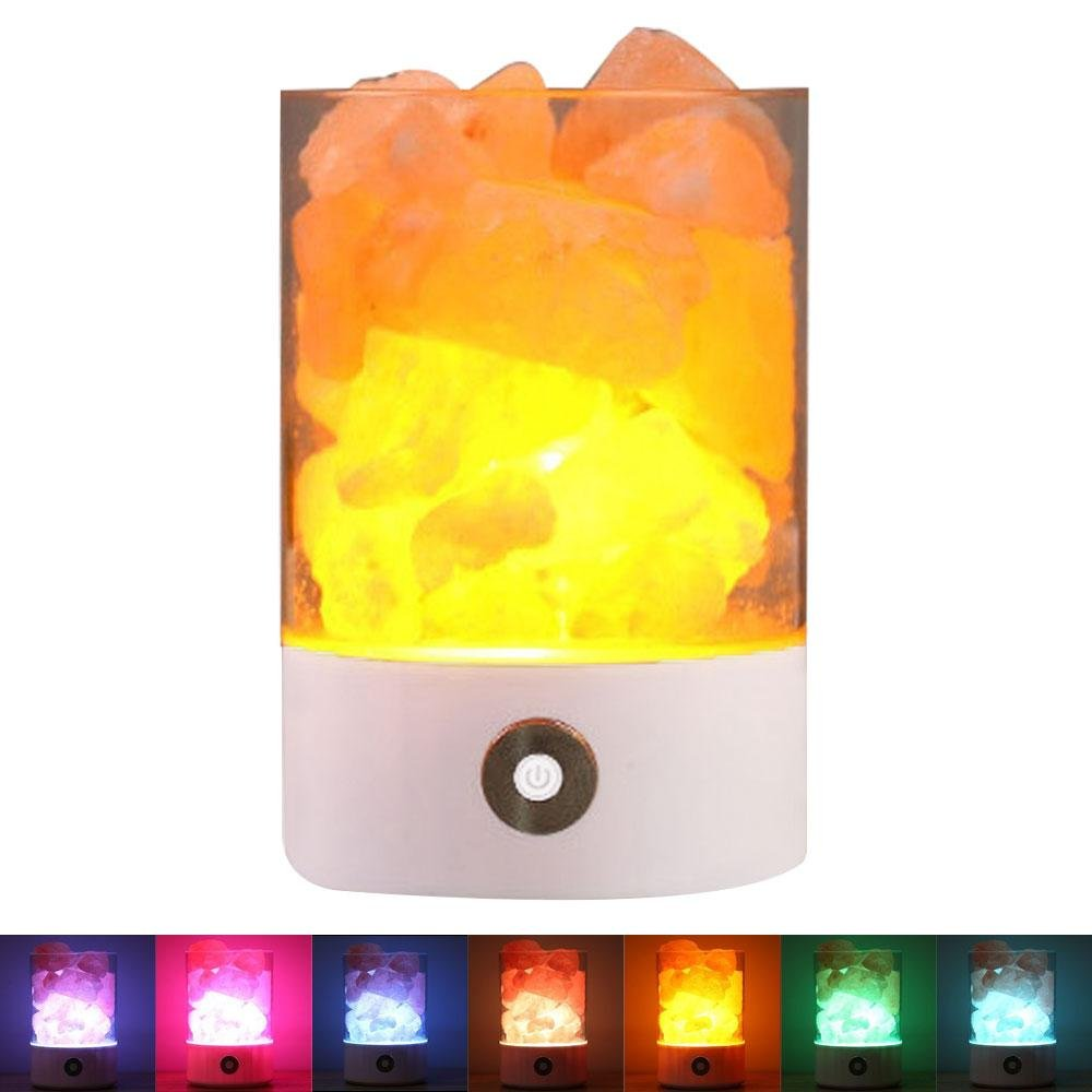 KOBWA Natural Himalayan Rock Salt Crystals Lamp USB Ionic Air Purifier with 7 Rainbow Colours Adjustable Light and Touch Dimmer Switch for Christmas Holidays Birthdays Gift