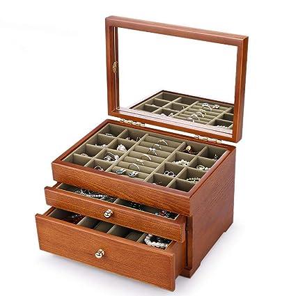 Hongge Caja de joyería, artesanías de Madera Vintage Mano Caja de joyería del Collar de