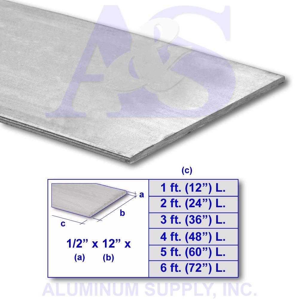 1/2'' x 12'' x Different Lengths - 6061 - T6511 Aluminum Flat Bar (Mini - Plate) 3 ft. (36'' L.) by Aluminum Flat Bar