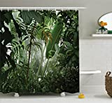 Rainforest Shower Curtain Rainforest Decorations Shower Curtain Set By Ambesonne, Tropical Rainforest Preservation Humidity Palm Tree Wild Environment Misty Nature, Bathroom Accessories, 75 Inches Long, Green