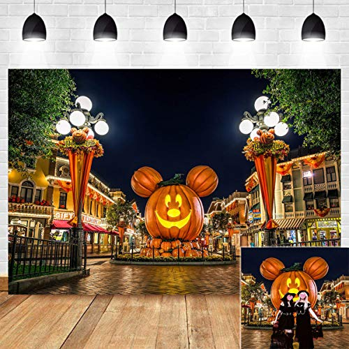 Mickey Mouse Halloween Party Cartoon (Halloween Themed Cartoon Mouse Head Pumpkin Lantern Photography Backdrop Real Night Street Scene Photo Background Travel Birthday Party Banner Photo Booth Props Vinyl 5x3ft Family)