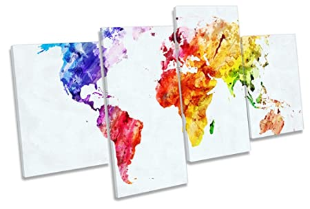 Canvas geeks map of the world colourful 80cm wide x 45cm high canvas geeks map of the world colourful 80cm wide x 45cm high multi canvas gumiabroncs Gallery