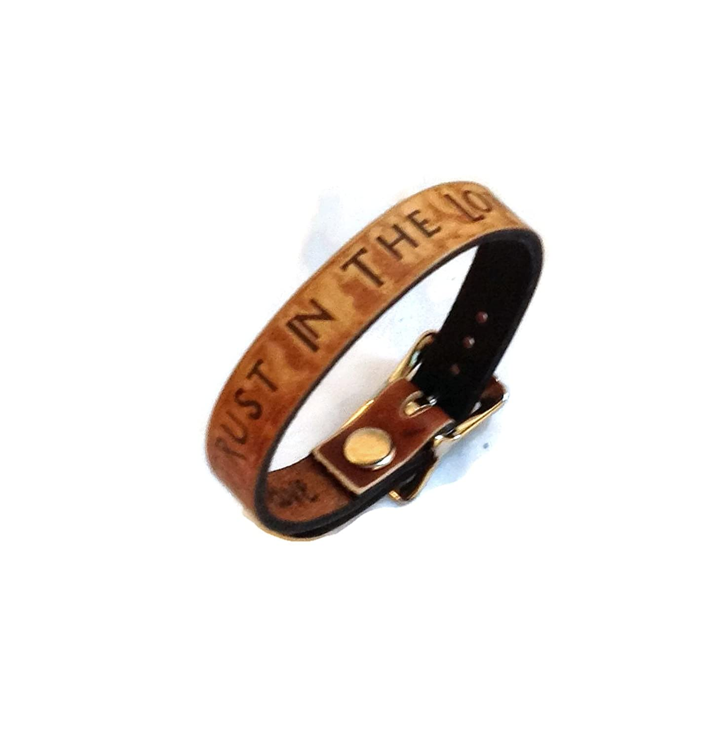 """Trust In The Lord"" Inspiration Collection Leather Bracelet 1/2"" Wide Made in USA"
