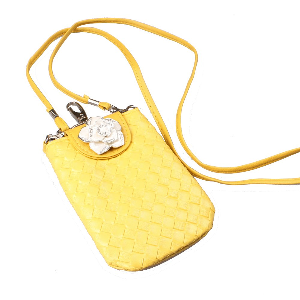 Yellow Woven Leather Crossbody Rhinestone Bowknot Cast