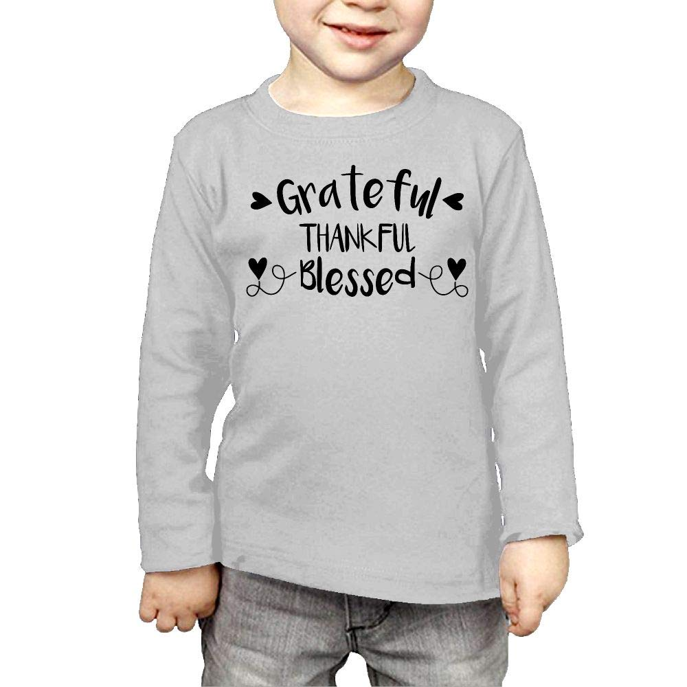 Fryhyu8 Toddler Childrens Grateful Thankful Blessed Printed Long Sleeve 100/% Cotton Infants T Shirts