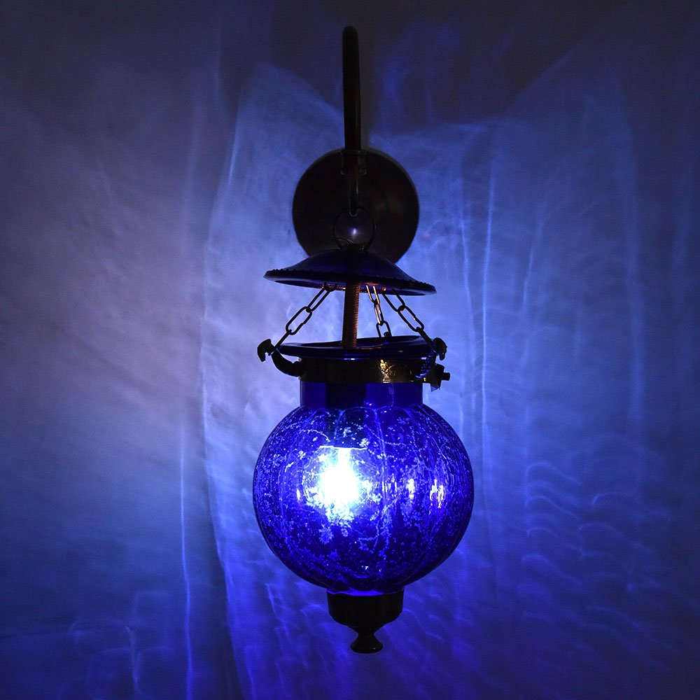 Handmade Vintage Cobalt Blue Melon Shaped Glass Wall Lamp Sconces Hanging Lighting Bronze Bracket