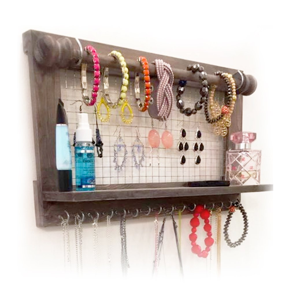 Hanging Jewelry Organizer | Wall Mounted Wooden Holder for Necklace, Earrings, Bracelets, Rings & Other Accessories | With Hooks, Shelf, Wire Grid & Removable Bar | 17.5