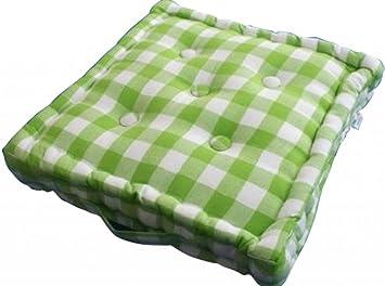 Homescapes Bequemes Sitzkissen 40 X 40 Cm Karo Grün Weiß Stuhlkissen Sitzerhöhung Stuhlauflage 100 Reine Baumwolle Mit Polyester Füllung