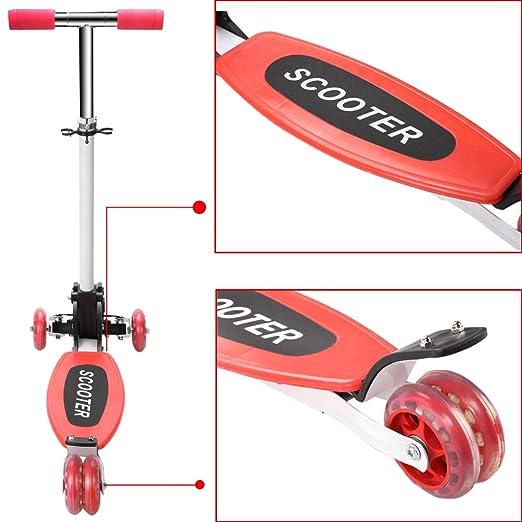 Patinete de Beautytalk para niños, escúter plegable con 3 ruedas, adecuado para niños de 2-16 años, Niño, OFS003406* rojo, 68 x 26cm