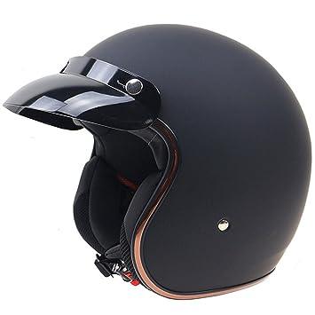 Lidauto Cascos de Moto Retro Medio Ciclomotor Alta Blanco Negro Mate de Hombre Mujer,Matte