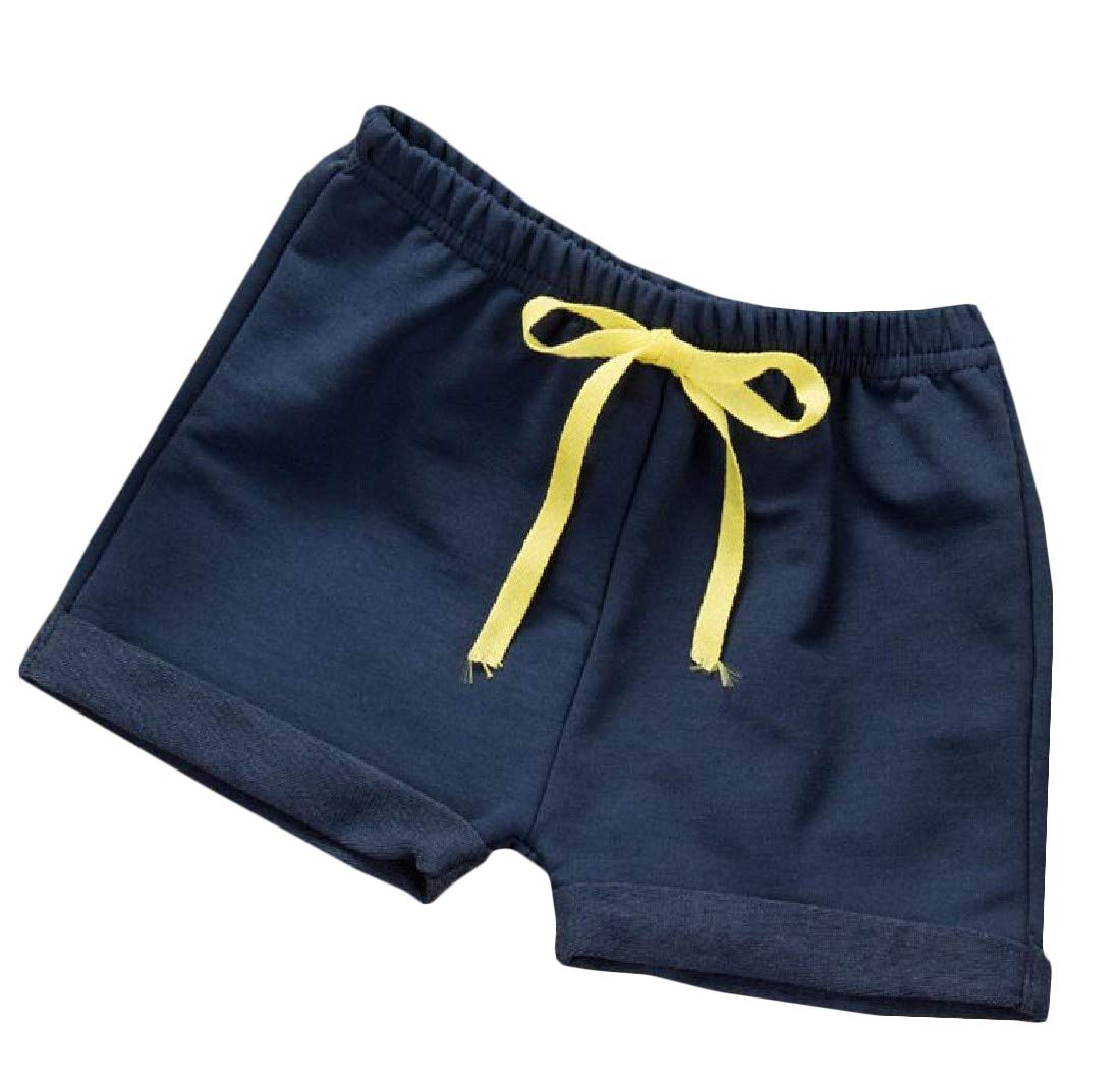 Macondoo Children Girl Boys Sport Elastic-Waist Knee Length Cotton Shorts Navy Blue2 2T