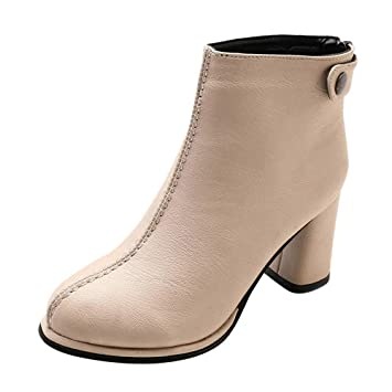 Amazon.com: AIMTOPPY Womens Shoes Round Head High Heel Leather Back Zipper: Computers & Accessories