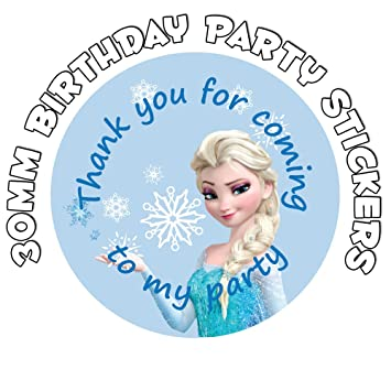 Thank you for coming to my party birthday stickers elsa frozen design