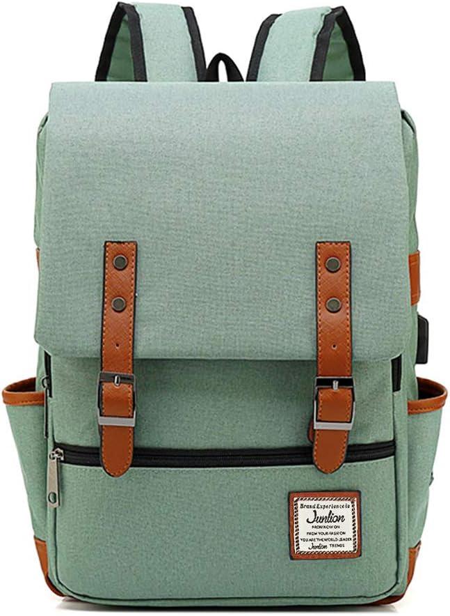 Junlion Unisex Business Laptop Backpack College Student School Bag Travel Rucksack Daypack with USB Charging Port Green