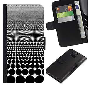 WINCASE ( No Para HTC ONE Mini 2) Cuadro Funda Voltear Cuero Ranura Tarjetas TPU Carcasas Protectora Cover Case Para HTC One M8 - lunar modelo de la ilusión negro blanco