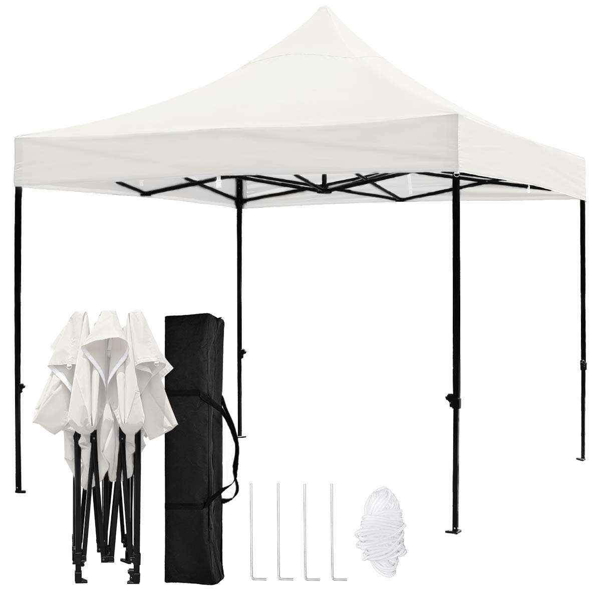 TopCamp 5'x5' Ez Canopy Tent, Portable Pop up Heavy Duty Outdoor Waterproof Beach Party Tents Instant Sun Shelter - Beige 5ft x 5ft