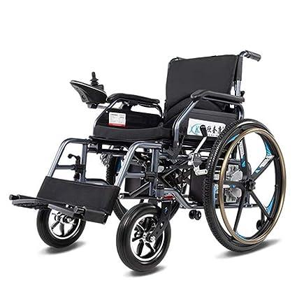 Yhongyang Silla de Ruedas eléctrica para discapacitados para Ancianos, de Cuatro Ruedas, batería de
