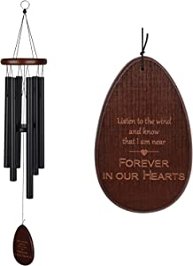 IMEIM Memorial Wind Chimes Personalized Outdoor Sympathy Wind Chimes Gift Keepsake for Deceased Loved Aluminum Tubes Wooden Wind Bell for Garden/Patio Deco