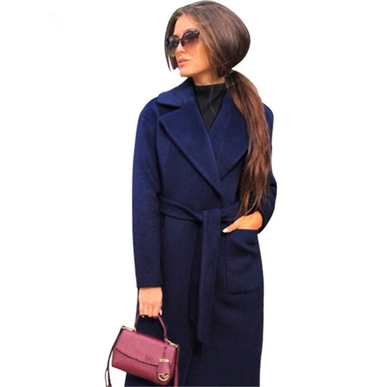 Navy bluee Turn Down Collar Long Wool Coat Elegant Winter Woman Wool Blend Coats Pockets Coat Outerwear