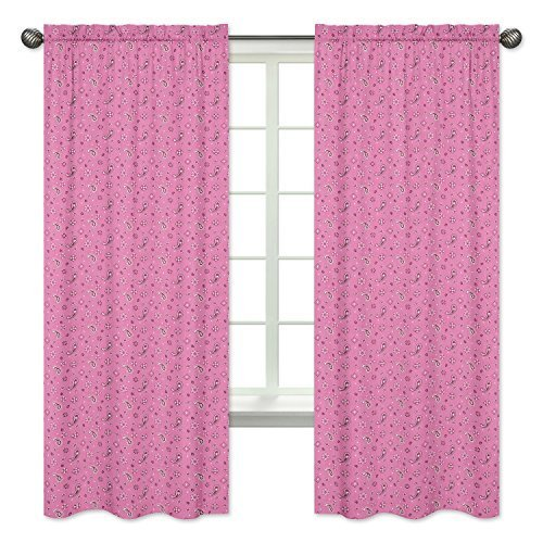 Panel Cowgirl (Sweet Jojo Designs 2-Piece Pink Bandana Window Treatment Panels for Western Cowgirl Collection)
