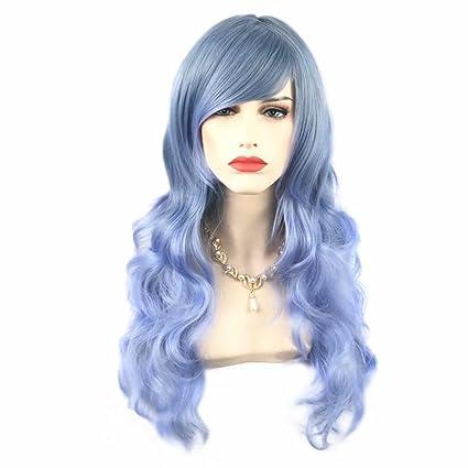 NiceLisa - Peluca de cosplay con brazaletes, sintético, larga, ondulada, degradada,