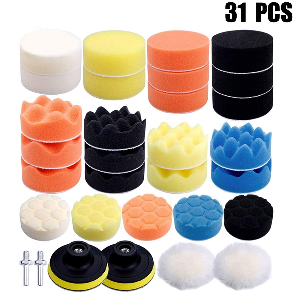 Dimoxii Polishing Pads Sponge, 3' Woolen Waxing Buffing Kits Compound Auto Car Polisher M10 Drill Adapter (31 Pcs) 3 Woolen Waxing Buffing Kits Compound Auto Car Polisher M10 Drill Adapter (31 Pcs)