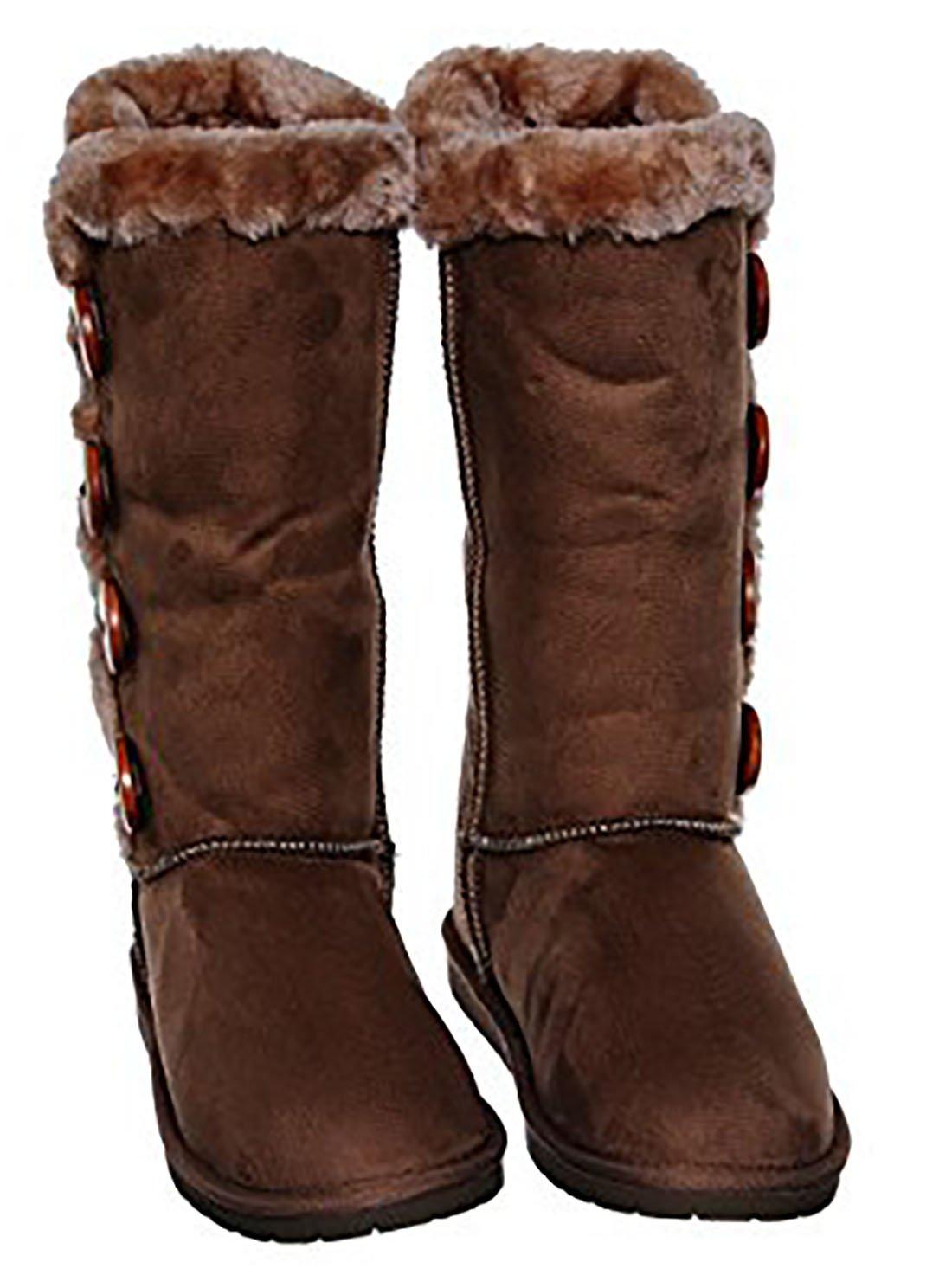 0da1141ff Forever Link color liso con cuatro botones de piel forrada Botas de nieve  de media caña Zapatos MVE castaña