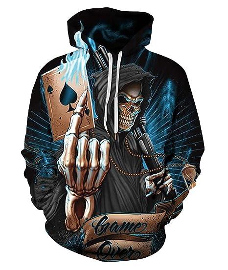 629aa456025c FEOYA Mens Skull Poker Patterned Hoodies 3D Print Realistic Hooded  Sweatshirts Teens Cool Personality Hoody with