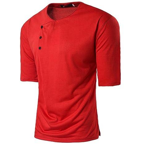 Camiseta y polos basica,Beikoard caballero Moda Hombre verano casual Botón músculo Pullover manga media