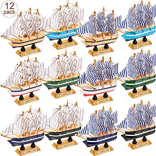 12 Pieces Sailing Ship Model Decor 12 Style Wooden Miniature Sailing Boat Model Handmade Vintage Nautical Sail Ship for Tabletop Ornament, Ocean Theme and Home Decor (Models Wooden Boats)
