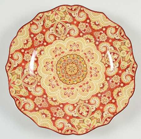 222 Fifth Lyria Saffron Paisley Salad Plate, Set of 4