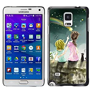 FECELL CITY // Duro Aluminio Pegatina PC Caso decorativo Funda Carcasa de Protección para Samsung Galaxy Note 4 SM-N910 // Drawing Mommy Mother Kid Children