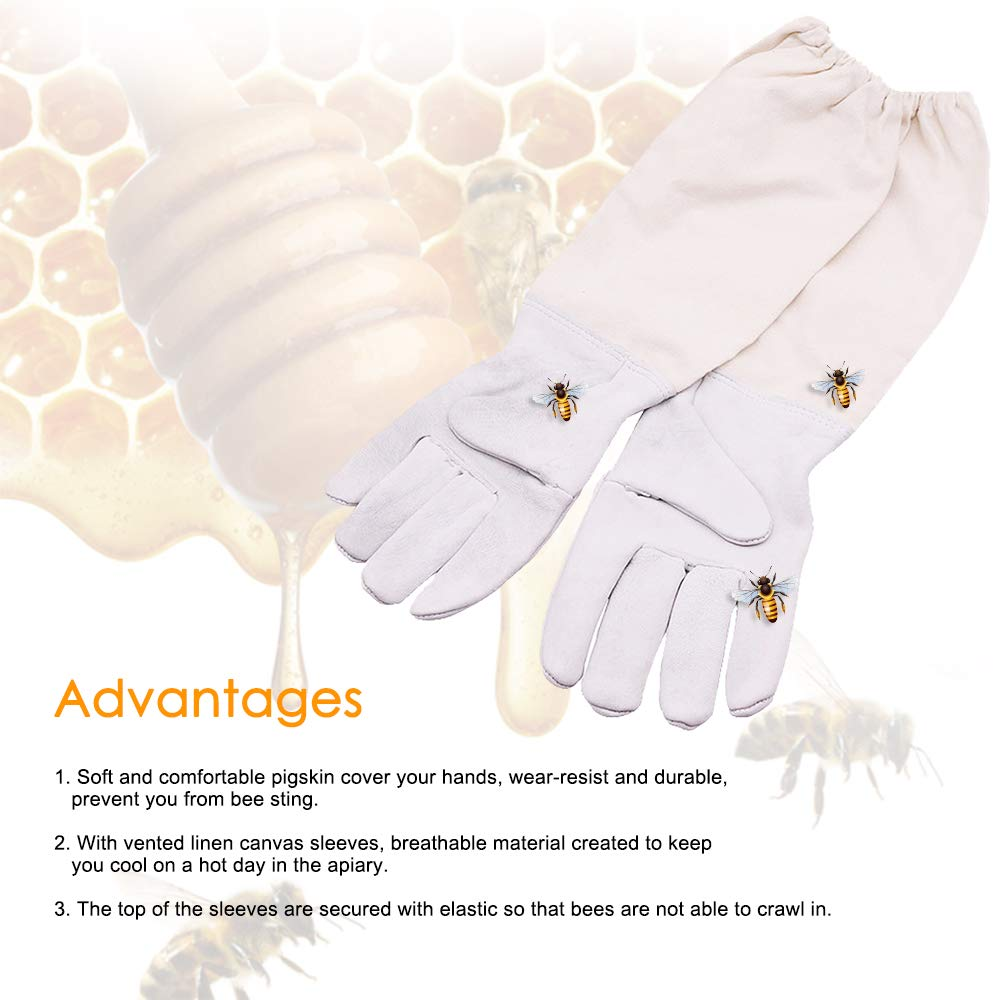Fesjoy Beekeeping Gloves Anti Bee Beekeeping Supplies Professional Apiculture Beekeeping Clothing Sting Proof Cuffs Beekeeper Prevent Gloves Protective Sleeves