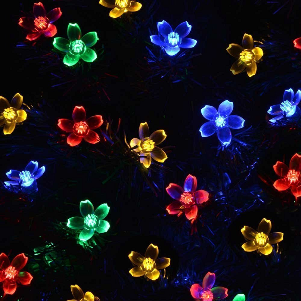 qedertek solar christmas string lights 22ft 50 led waterproof cherry blossom string lights lighting for indooroutdoor patio garden xmas christmas - Flower Christmas Lights