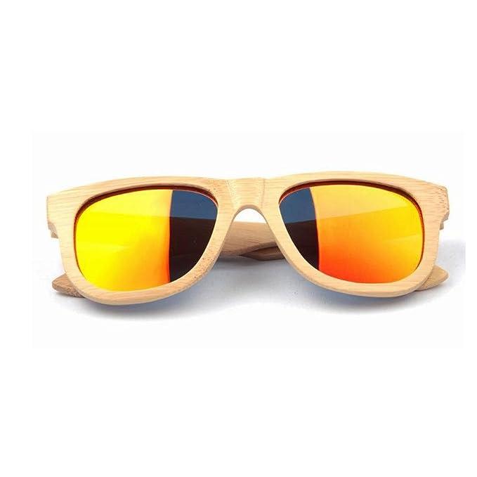 HAOYUXIANG Retro Bambus Beschichtete Bambus Beine Polarisierte Gläser Holz Männer Und Frauen Sonnenbrillen,C5