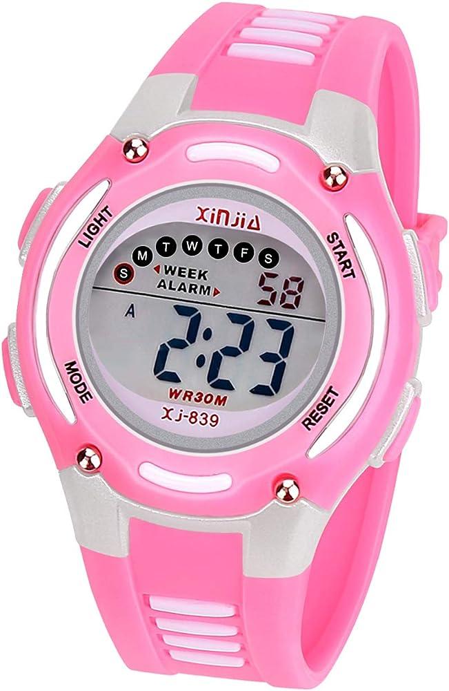 Reloj Digital para Niña Niño,Chicos Chicas Impermeabl Deportes al Aire Libre LED Multifuncionales Relojes de Pulsera con Alarma (Rosa): Amazon.es: Relojes