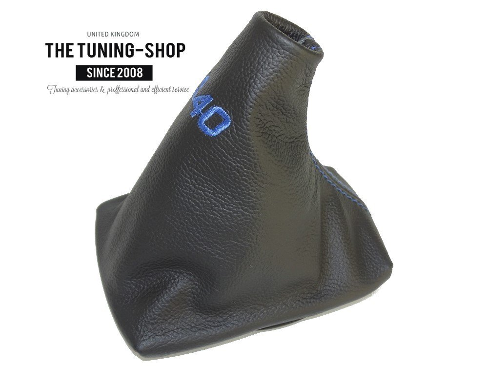 For Volvo S40 2004-12 Shift Boot with Plastic Frame Black Leather S40 Blue Embroidery