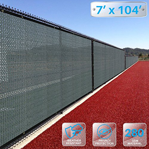 PATIO Premium Breathable Fence Privacy Screen 7' x 104' Coated Polyester Mesh 80% Privacy (280GSM) -3 Year Limited Warranty - Solid Green (Screen Large 104')