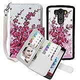 LG G3 Wallet Case, xhorizon TM FLK Premium Leather Folio Case Wallet Magnetic Detachable Purse Multiple Card Slots Case Cover for LG G3 (Wintersweet)