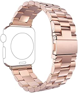 UCOFFEE Compatible Apple Watch Band 42mm 44mm, iWatch Band, Solid Stainless Steel Metal Apple Watch Strap iWatch Watchband with Durable Folding Clasp for Apple Watch Series 1/2/3/4 (Rose Gold)