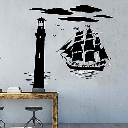 zqyjhkou 112 * 110 cm Barco Faro Vinilo Tatuajes de Pared Mar ...