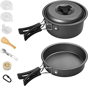Gonex Camping Cookware Set Mess Kit, Backpacking Gear Cooking Equipment 11pcs/13pcs, Stackable Portable Non Stick Pot Pan Cook for Outdoors Hiking