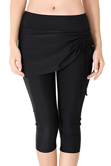 Pantalon Leggings de Bain Femme avec Jupette Bas de Maillot de bain Jupe  Legging 3  a2dada41914