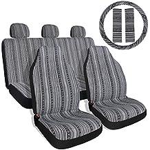 Copap Black & Gray Baja Saddle Blanket Car Seat Covers with Steering Wheel Cover & Seat Belt Protectors 10pc Universal Seat Covers Full Set for Sedan, Car & Van