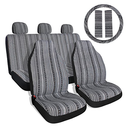 Baja Black & Gray Saddle Blanket Car Seat Covers with Steering Wheel Cover & Seat Belt Protectors 10pc Universal Seat Covers Full Set for Sedan, Car