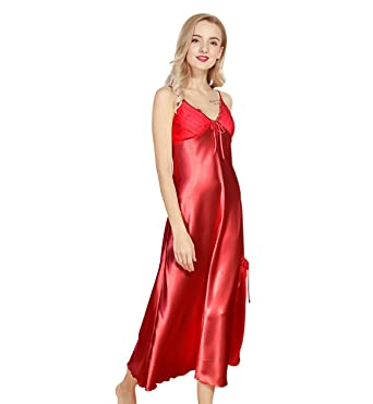 9a9623dd3cfb6 Surenow Women's Polyester Satin Nightgown Straps Long Silky Sling Nightdress  Lace Trimmed Side Slit V-