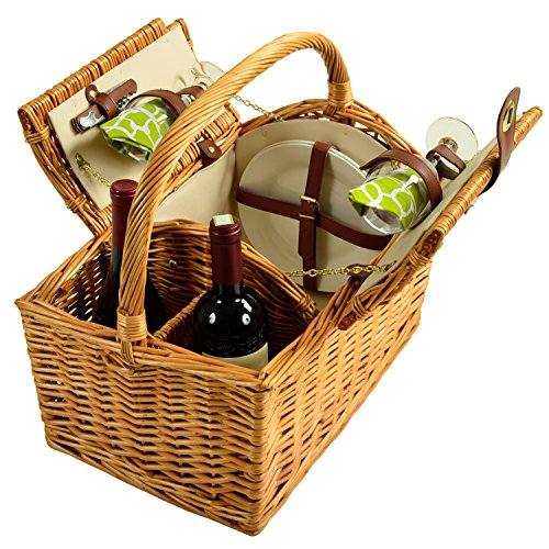 Picnic at Ascot Vineyard Willow Picnic Basket, Natural/Trellis Green