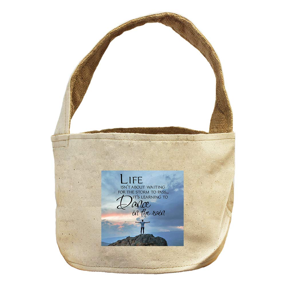Dance in The Rain Like Man at with Nature Canvas and Burlap Storage Basket