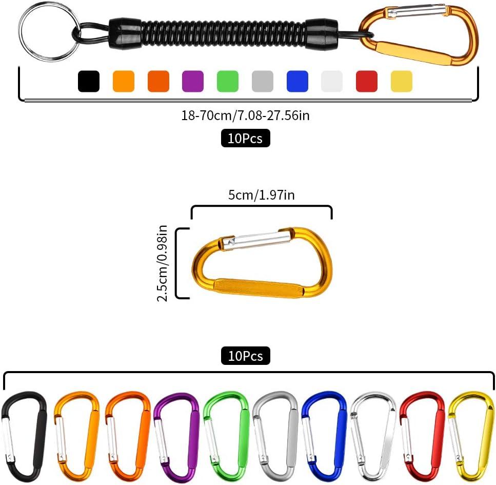 Sicherheitsfeder Spiralbindung Spirale einziehbar Wilxaw Schl/üsselanh/änger Diebstahlschutz mit Karabinerhaken 10 St/ück Farbe Schl/üsselanh/änger